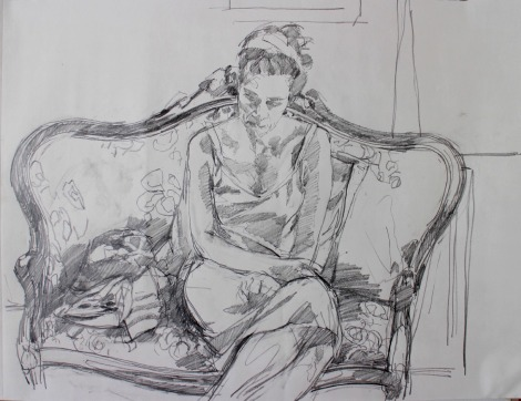 study; woman on couch